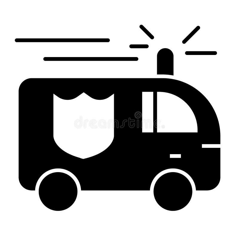 Feste Ikone des Löschfahrzeugs Löschfahrzeugvektorillustration lokalisiert auf Weiß Feuerbekämpfender Auto Glyph-Artentwurf, entw lizenzfreie abbildung