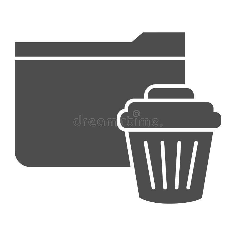 Feste Ikone des Löschungsordners r Ordner mit Behälter Glyphart vektor abbildung