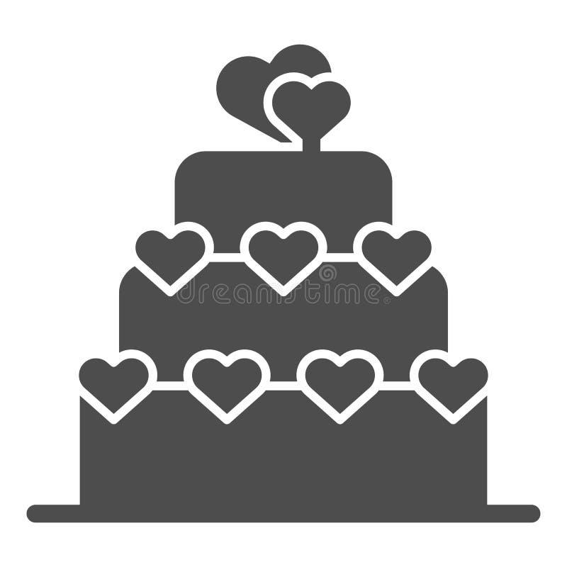 Feste Ikone des Liebeskuchens Valentinsgrußkuchenzeichen-Vektorillustration lokalisiert auf Weiß Überlagerter Kuchen mit Herz Gly vektor abbildung