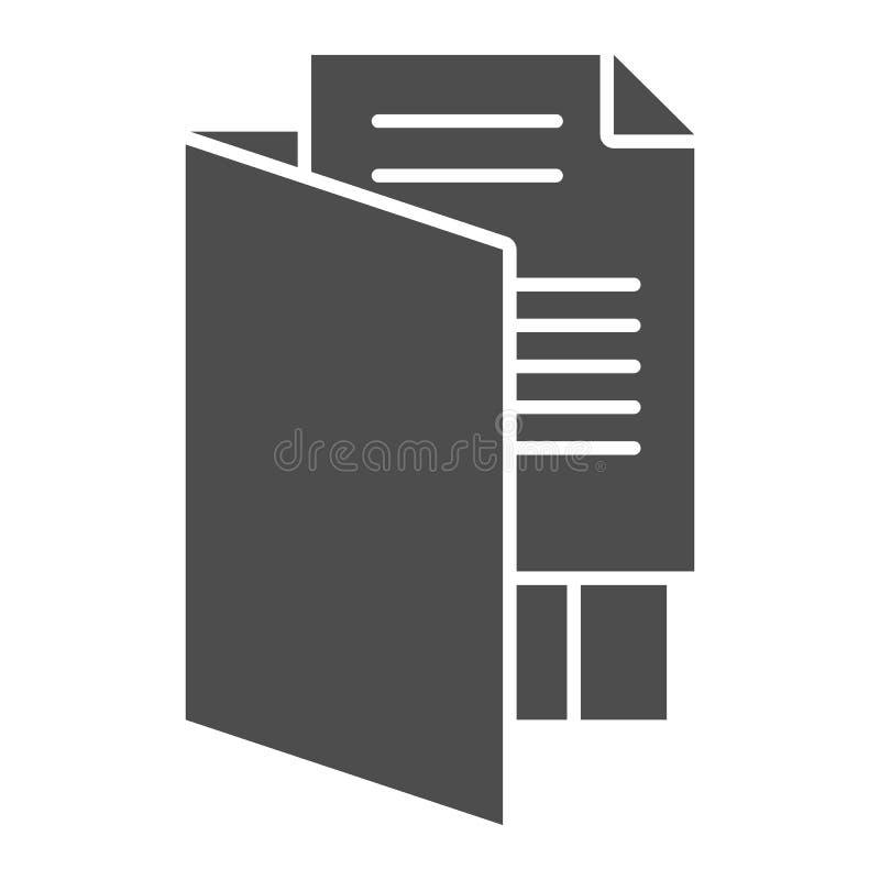Feste Ikone des offenen Ordners Dateiordner-Vektorillustration lokalisiert auf Weiß Speicherdokument Glyph-Artentwurf, entworfen stock abbildung