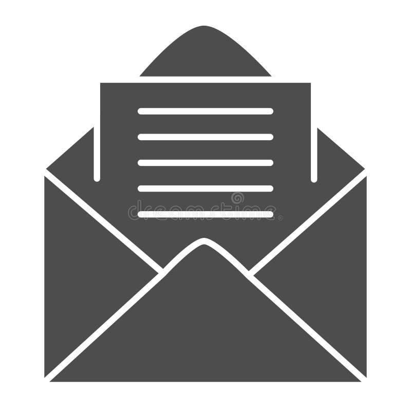 Feste Ikone des offenen Umschlags Buchstabevektorillustration lokalisiert auf Weiß Post Glyph-Artdesign, bestimmt für Netz und lizenzfreie abbildung