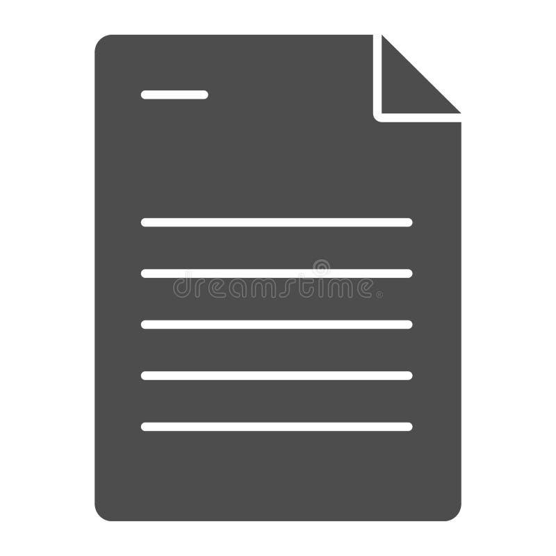 Feste Ikone des Papierblattes Dokumentenvektorillustration lokalisiert auf Wei? Liste Glyph-Artentwurf, bestimmt für Netz und lizenzfreie abbildung