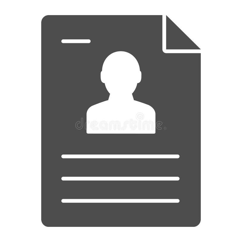 Feste Ikone des persönlichen Dokuments Ausweispapier-Vektorillustration lokalisiert auf Weiß Blatt Glyph-Artentwurf lizenzfreie abbildung