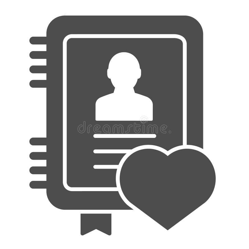 Feste Ikone des persönlichen Notizblockes Notizbuchvektorillustration lokalisiert auf Wei? Anmerkung Glyph-Artentwurf, bestimmt f stock abbildung