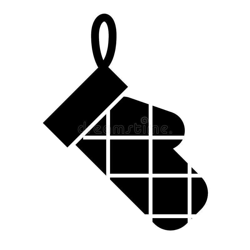 Feste Ikone des Potholder Küchenhandschuh-Vektorillustration lokalisiert auf Weiß Ofenhandschuh Glyph-Artentwurf, entworfen für vektor abbildung