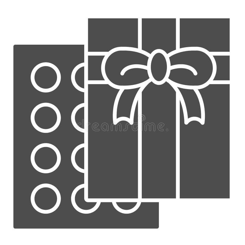 Feste Ikone des Pralinekastens Bonbonvektorillustration lokalisiert auf Weiß Anwesender Glyphartentwurf, entworfen für stock abbildung