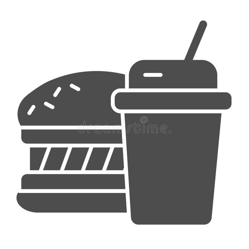 Feste Ikone des Schnellimbisses Hamburger- und Getr?nkvektorillustration lokalisiert auf Wei? Mahlzeit Glyph-Artentwurf, entworfe vektor abbildung