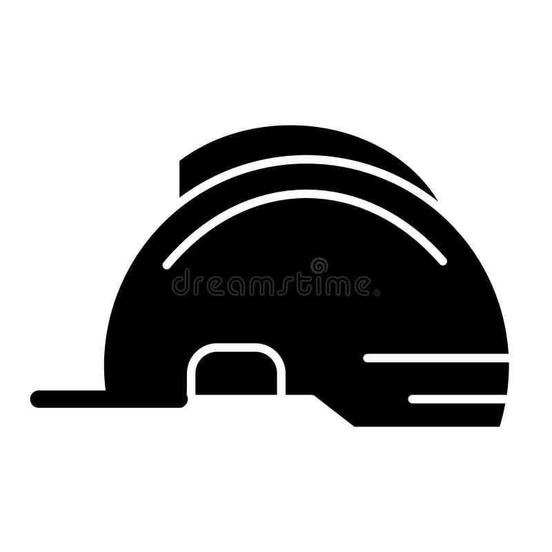 Feste Ikone des Sturzhelms Bausicherheits-Vektorillustration lokalisiert auf Weiß Kopfschutz Glyph-Artentwurf stock abbildung