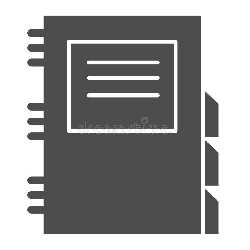 Feste Ikone des täglichen Planers Tagebuchvektorillustration lokalisiert auf Weiß Täglicher Notizblock Glyph-Artentwurf, entworfe vektor abbildung