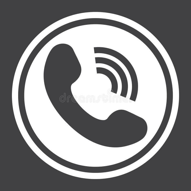 Feste Ikone des Telefon-Anrufs, treten uns und mit Website in Verbindung lizenzfreie abbildung