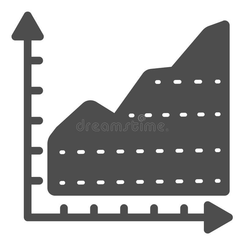 Feste Ikone des Wachstumsdiagramms Diagramm mit der Pfeilvektorillustration lokalisiert auf Weiß Diagramm Glyph-Artentwurf, entwo stock abbildung
