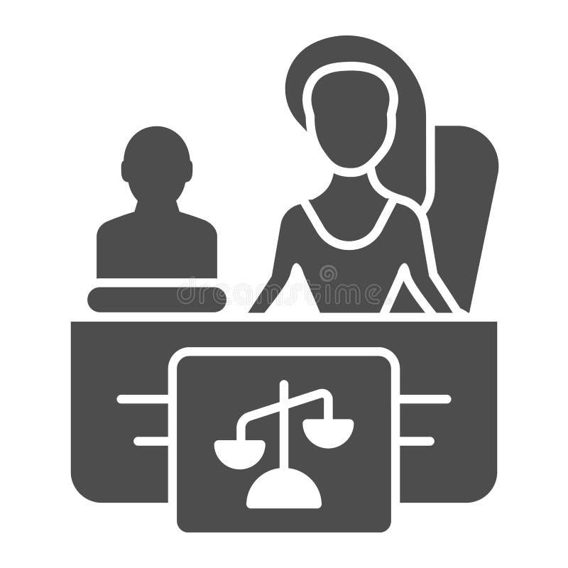 Feste Ikone des weiblichen Rechtsanwalts r M?dchenrechtsanwalt Glyph-Artentwurf stock abbildung