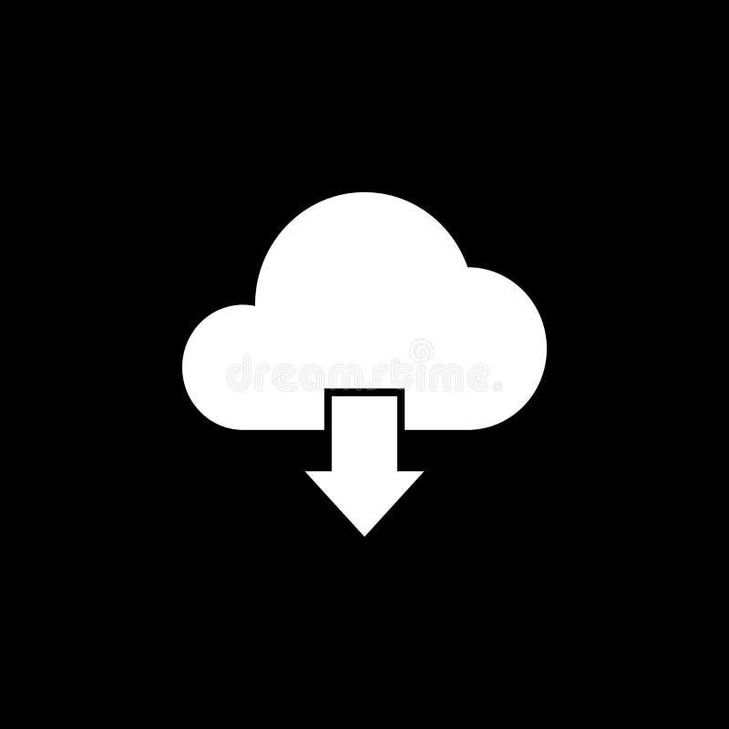 Feste Ikone des Wolkendownloads, lizenzfreie abbildung