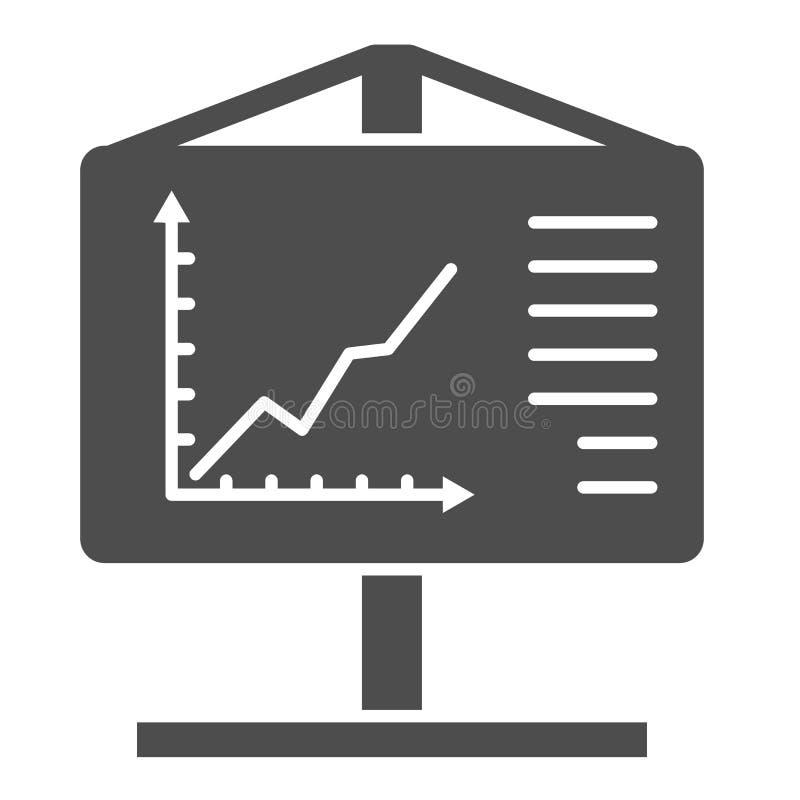 Feste Ikone Flipchart Darstellungsvektorillustration lokalisiert auf Weiß Diagrammbrett Glyph-Artentwurf, entworfen für stock abbildung