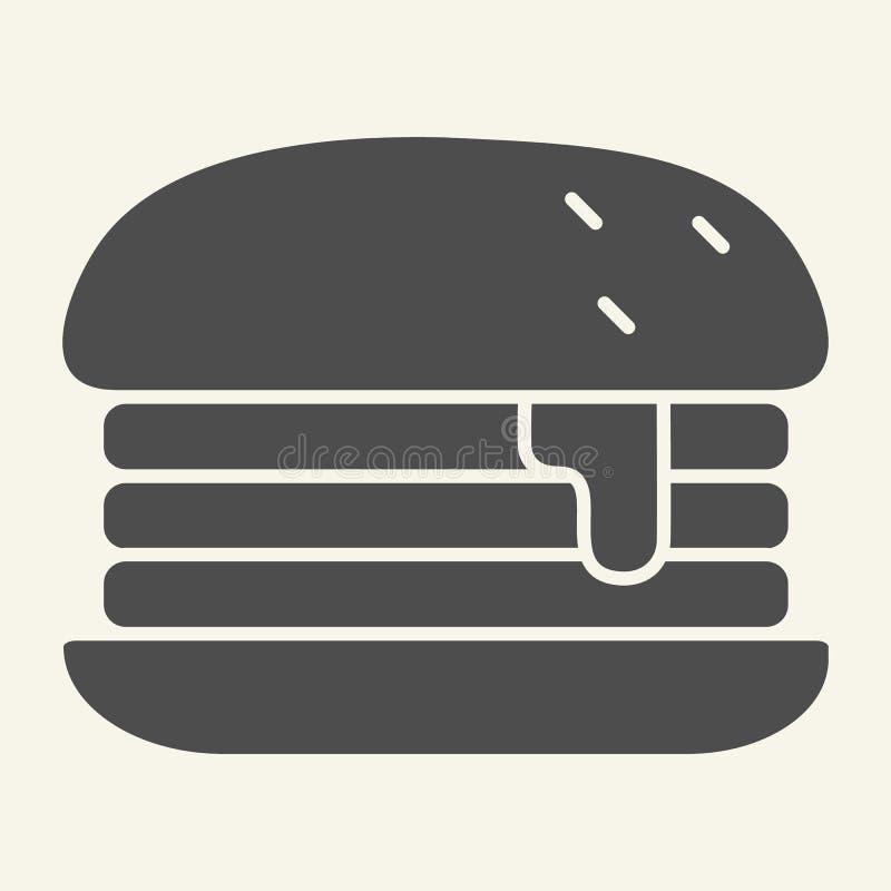 Feste Ikone Humburger Burgervektorillustration lokalisiert auf Weiß Brötchen Glyph-Artentwurf, bestimmt für Netz und App stock abbildung