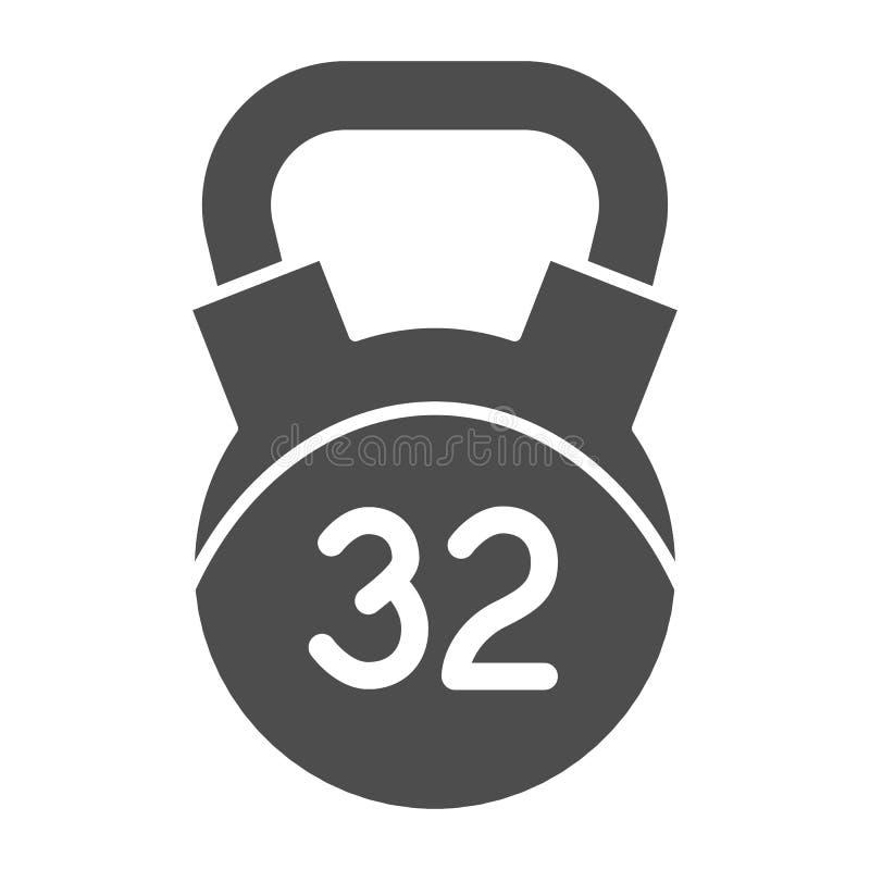 feste Ikone 32 Kilogramm-Gewichts Kettlebell-Vektorillustration lokalisiert auf Wei? Dummkopf Glyph-Artentwurf, bestimmt f?r Netz lizenzfreie abbildung