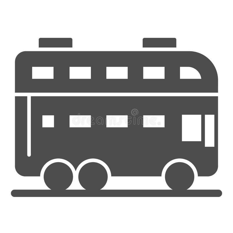 Feste Ikone London-Busses Doppeldeckerbus-Vektorillustration lokalisiert auf Wei? Reise Glyph-Artentwurf, entworfen f?r lizenzfreie abbildung