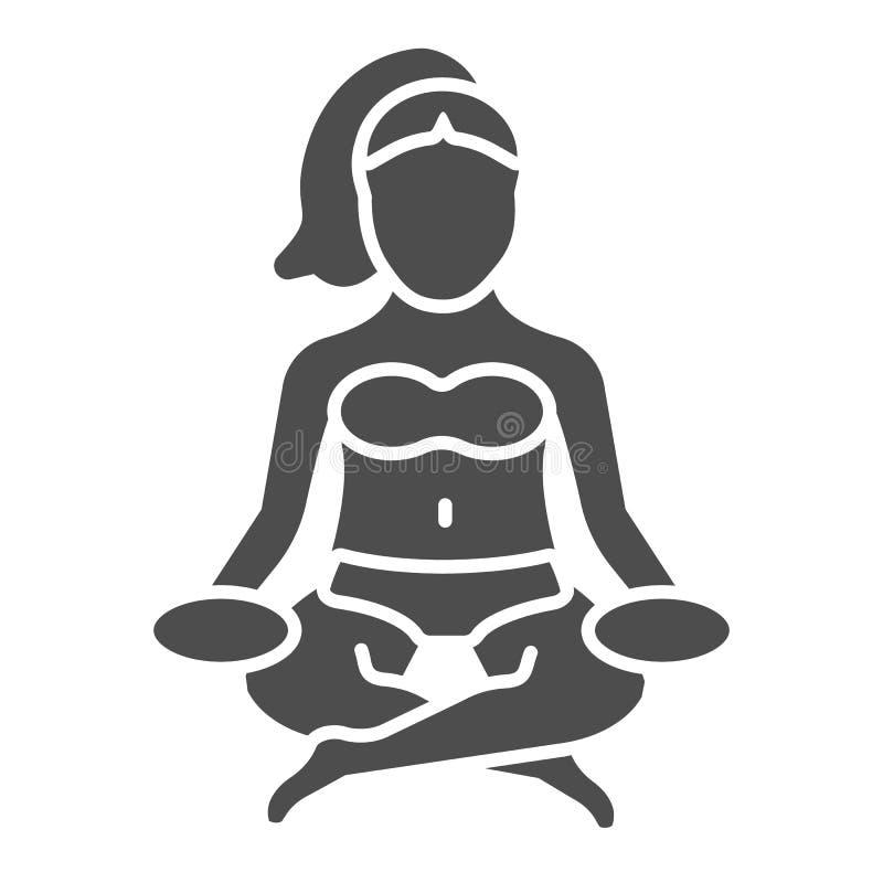 Feste Ikone Lotus-Haltung Yogavektorillustration lokalisiert auf Weiß Frau meditierender Glyph-Artentwurf, bestimmt für Netz lizenzfreie abbildung
