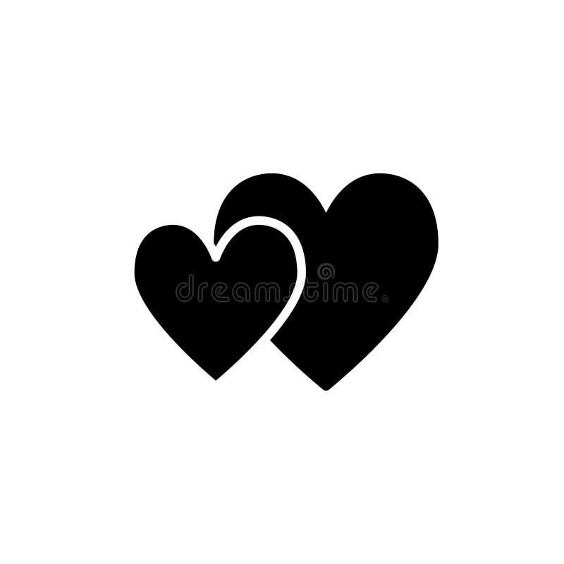 Feste Ikone von zwei Herzen Valentinsgrußtagesvektorillustration lokalisiert auf Weiß Verbinden Sie vom Herzen Glyph-Artentwurf lizenzfreie abbildung