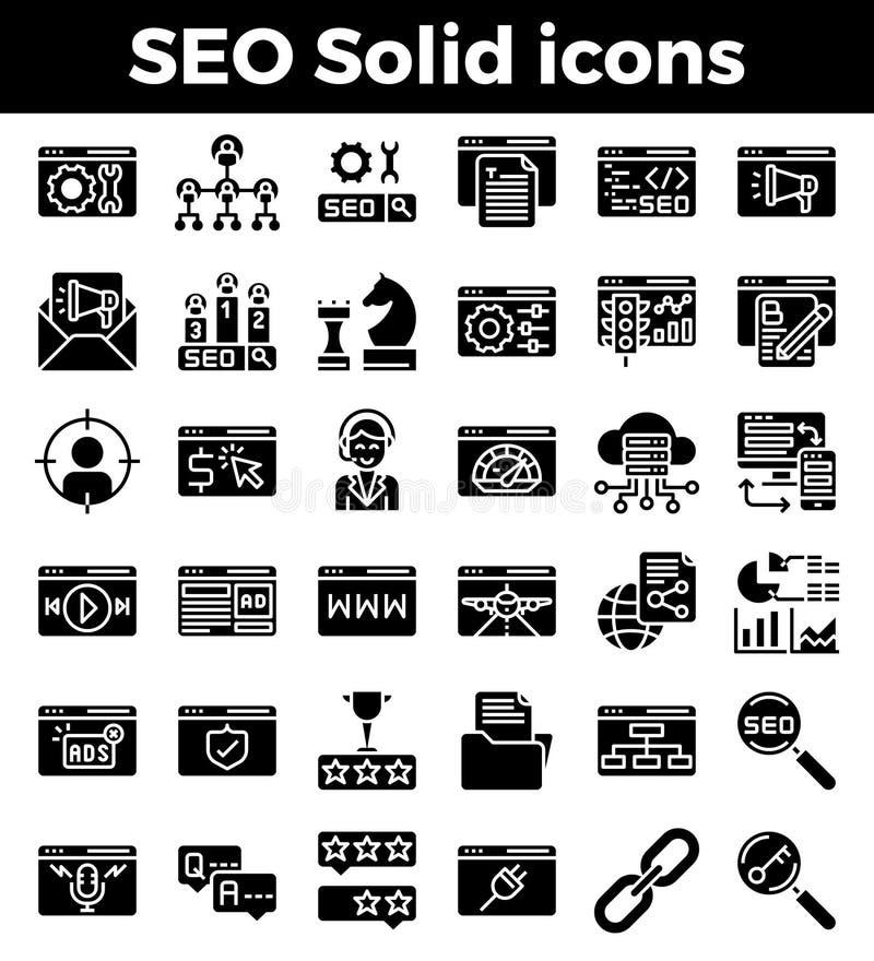 Feste Ikonen der SEO Search-Maschinenoptimierung Auch im corel abgehobenen Betrag stock abbildung