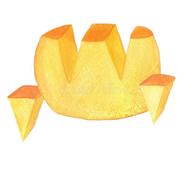 Feste Kreiskäse- und -schnittdreiecke watercolor Getrennt auf wei?em Hintergrund vektor abbildung