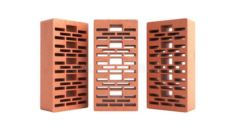 Feste Lehmziegelsteine benutzt f?r neuen roten Backstein 3d des Baus, auf wei?em Hintergrund keinen Schatten zu ?bertragen vektor abbildung