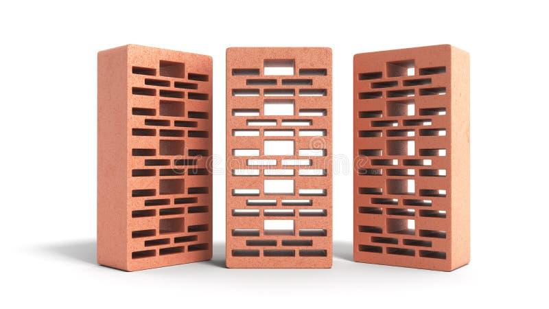 Feste Lehmziegelsteine benutzt f?r neuen roten Backstein 3d des Baus, auf wei?em Hintergrund zu ?bertragen lizenzfreie abbildung