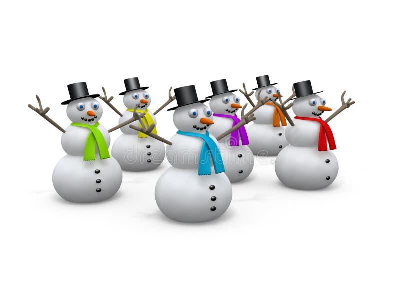 Feste - pupazzi di neve royalty illustrazione gratis
