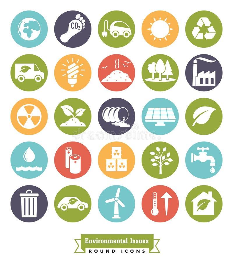 Feste runde Ikonen der Umweltfragen Farbeingestellt stock abbildung