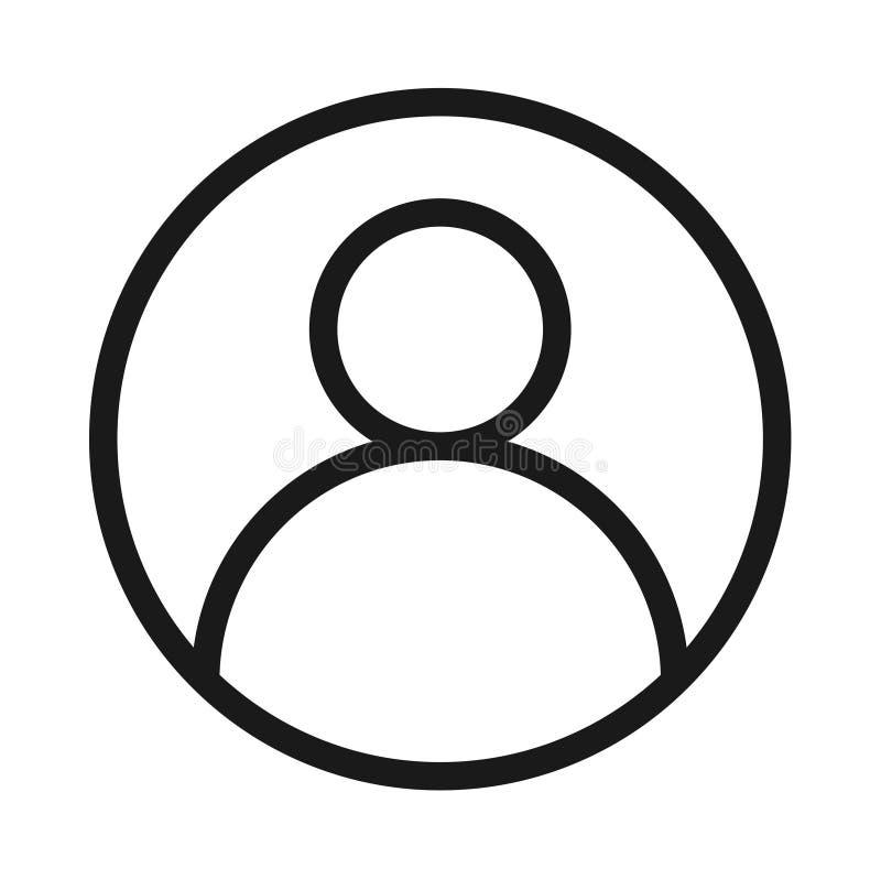 Feste schwarze Linie Ikone des Benutzerprofil-Avataras vektor abbildung