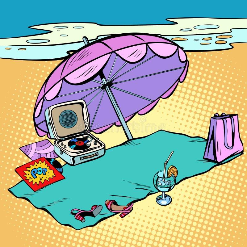 Feste, turismo e viaggio della spiaggia illustrazione di stock