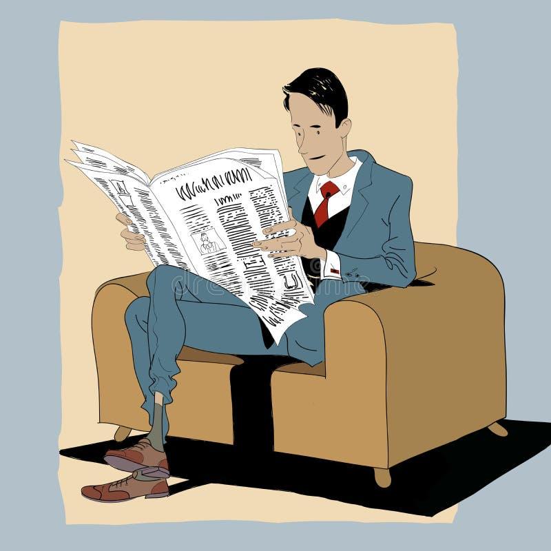 Fester Mann, der eine Zeitung liest stock abbildung