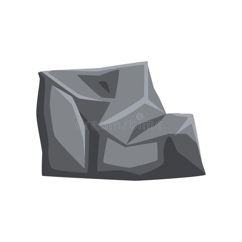 Fester Stein mit Lichtern und Schatten Stück des Gebirgsfelsens Großer grauer Flussstein Natürliches Vektoreinzelteil für Geologi lizenzfreie abbildung