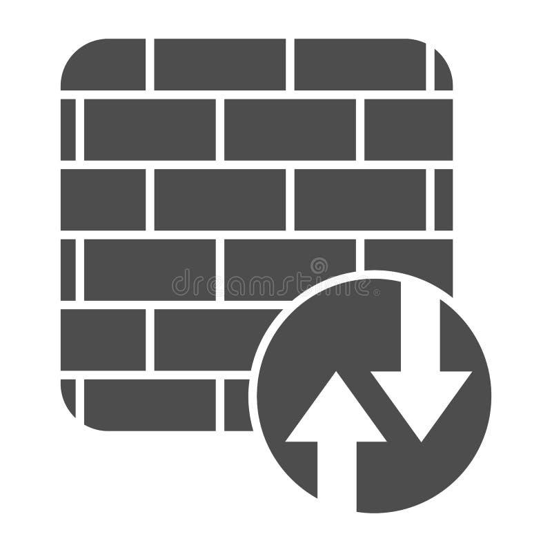 Festes Firewall-Symbol Weiß isolierte Darstellung des Netzwerkschutzvektors Design für Internetsicherheit stock abbildung