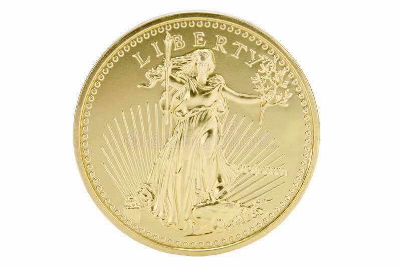 festes Gold 1oz 50 Dollar-Münze - USA lizenzfreie stockfotografie