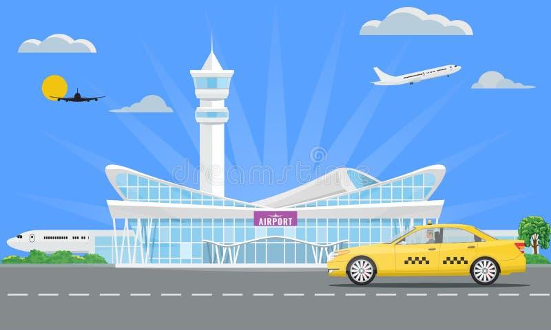 Festes modernes Flughafenabfertigungsgebäudegebäude und gelbes Taxi Auch im corel abgehobenen Betrag vektor abbildung