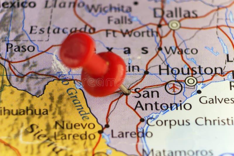 Festgesteckte Karte Sans Antonio Texas USA lizenzfreie abbildung