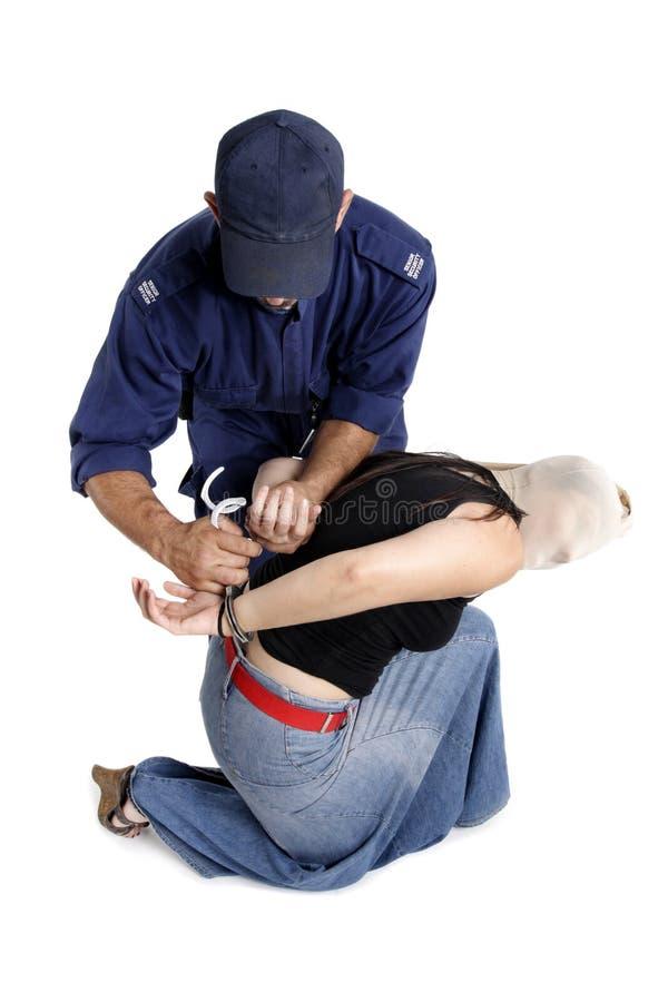 Festhalten eines Verbrechers stockfoto