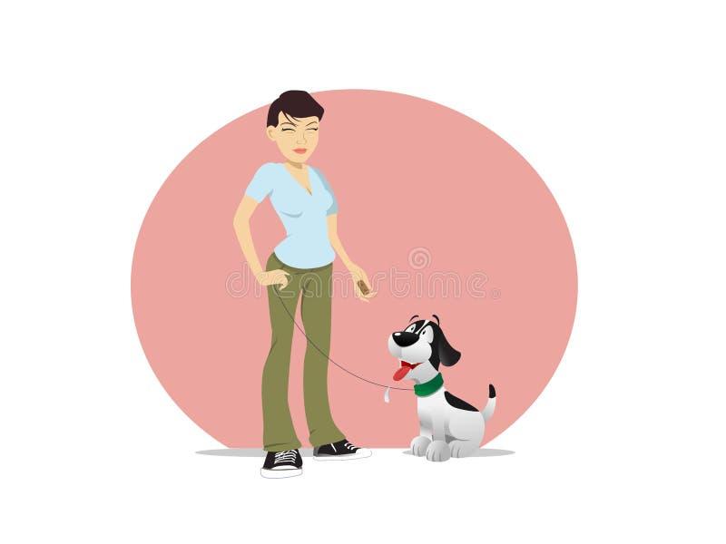 Festin asiatique de propriétaire de chien de femme illustration stock