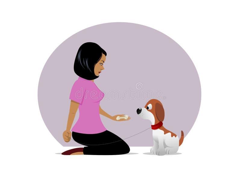 Festin de propriétaire de chien tentant 01 illustration stock