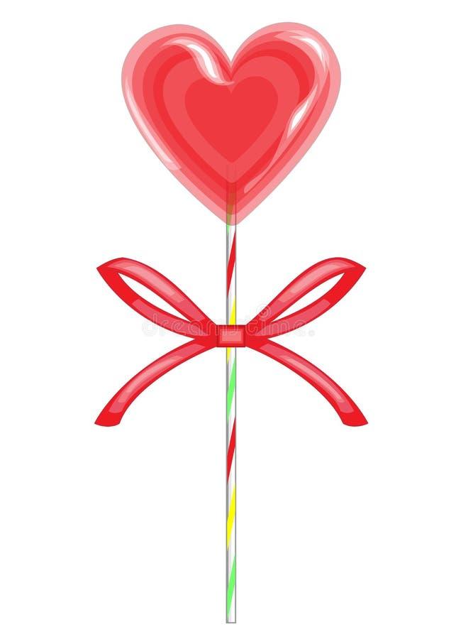 Festin doux sur un b?ton Sucrerie rouge sous forme de coeur band? avec le ruban Cadeau de Valentine s pour le jour de St Valentin illustration stock