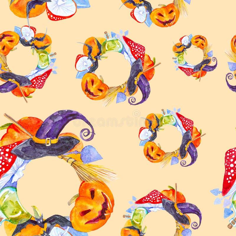 Festiv krans för Halloween-pumpa, flugagarik, batt, magiska hattar och poppflaska Bild på vattenfärg isolerad på gult stock illustrationer
