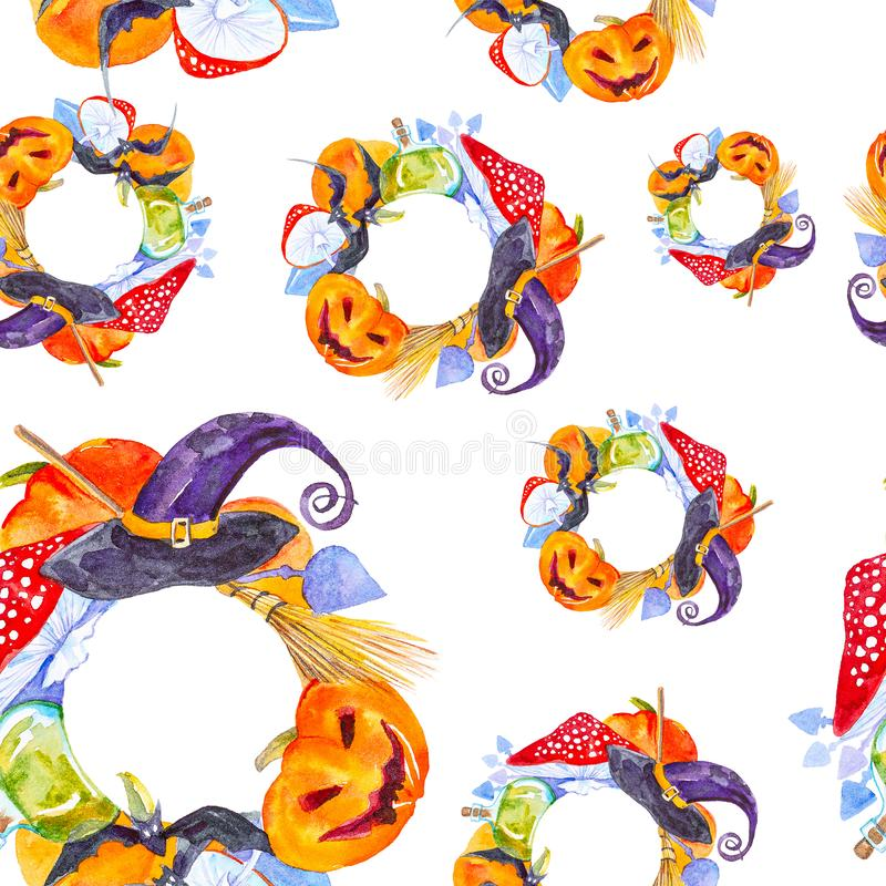 Festiv krans för Halloween-pumpa, flugagarik, batt, magiska hattar och poppflaska Bild på vattenfärg isolerad på vitt stock illustrationer