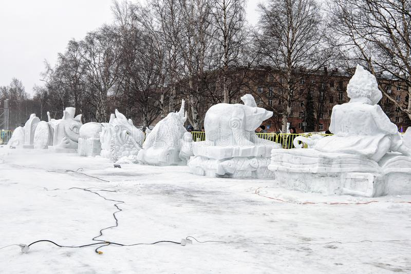 Festival 'Hyperborea - 2019 'esculturas de neve imagens de stock royalty free