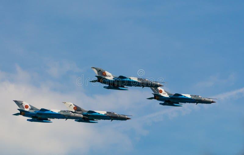 Festival aéreo internacional de Bucareste - lanceiro MIG-21 imagens de stock