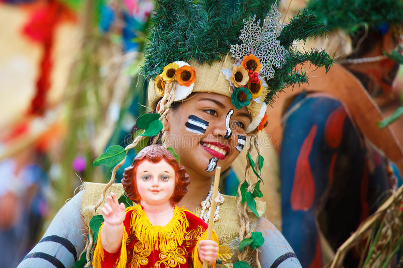 Festival ATI-Atihan on Boracay, Philippines. Is celebrated every. Year in late January. Parade in carnival costumes royalty free stock photo