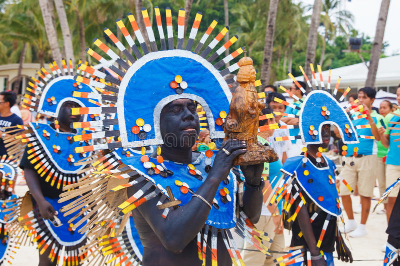 Festival ATI-Atihan on Boracay, Philippines. Is celebrated every. Year in late January. Parade in carnival costumes royalty free stock images