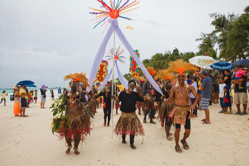 Festival ATI-Atihan on Boracay, Philippines. Is celebrated every. Year in late January. Parade in carnival costumes royalty free stock image