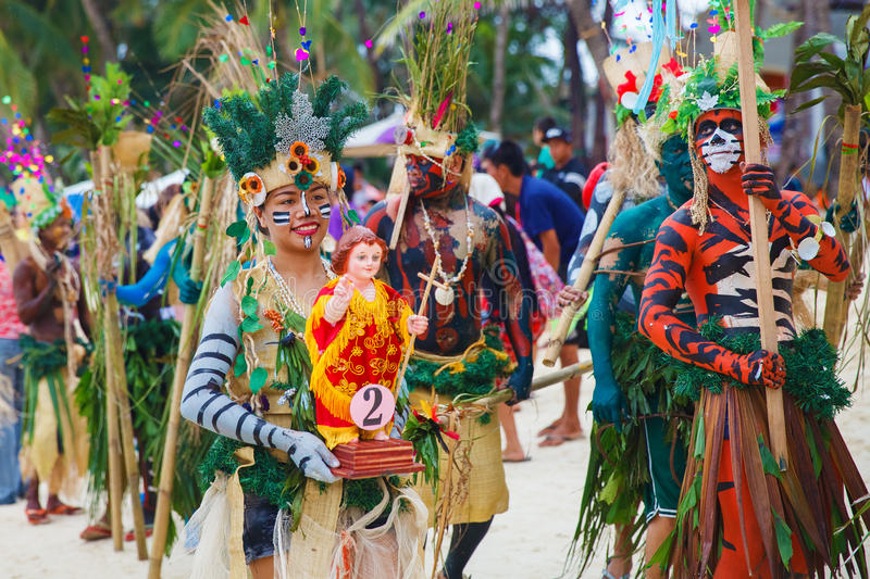 Festival ATI-Atihan on Boracay, Philippines. Is celebrated every. Year in late January. Parade in carnival costumes stock photo