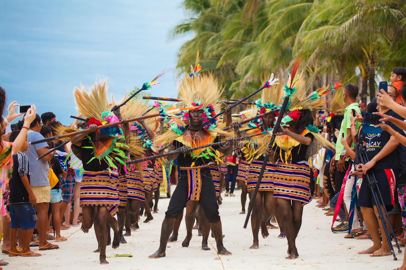 Festival ATI-Atihan on Boracay, Philippines. Is celebrated every. Year in late January. Parade in carnival costumes stock photos